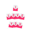 i love you text of pink letters vector image
