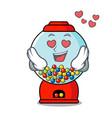 in love gumball machine mascot cartoon vector image vector image