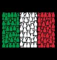 italian flag collage of liquid bottle icons vector image