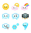 Kawaii weather icons vector image vector image