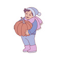 kid boy with pumpkin in vector image