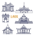Laotian temples thin line icon for travel design vector image