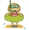 little funny girl going to swim vector image vector image