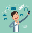 man up hand cellphone social media vector image vector image