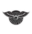 monochrome pattern - car wheel with wings vector image vector image