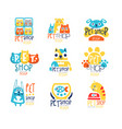 pet shop original label design colorful hand vector image vector image