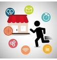 pictograh man shopping online media network vector image