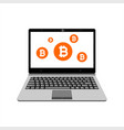 Realistic laptop display bitcoin assets