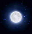 realistic moon icon on blue dark night sky vector image