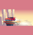 red robot car with silhouette transformer vector image vector image