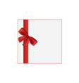 red satin ribbon tied to bow border 3d realistic vector image vector image