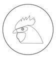 rooster head the black color icon in circle or vector image vector image