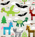 Seamless pattern with funny dragons bats unicorn vector image