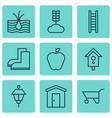 set of 9 agriculture icons includes birdhouse vector image vector image