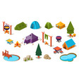 set of isometric icons for camping active vector image vector image