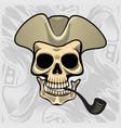 skull wearing a smoking hat vector image vector image