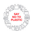 stop using plastic circle template with flat line vector image