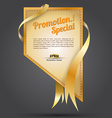 tag gold promotion rectangle ribbon vector image vector image