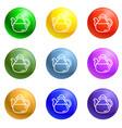 tea pot icons set vector image vector image