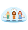 three young girls being weighed on scales vector image