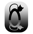 white and black cat mirror logotype cats in vector image