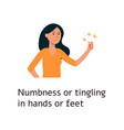 woman is feeling numbness and tigling in hand vector image vector image