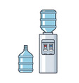 line plastic water cooler with blue full vector image