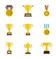 award icons set flat style vector image
