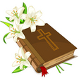 bible and lily flowers vector image