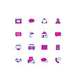 16 color thin line icons contact line icons part vector image