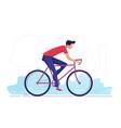 a young man cycling through vector image vector image