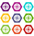 ancient compass icon set color hexahedron vector image vector image