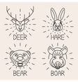 Animals line logo Set Nature Symbol Deer Bear Hare vector image vector image