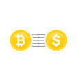 bitcoin to dollar exchange vector image vector image