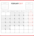 Calendar Planner for February 2017 vector image vector image