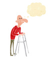 cartoon old man with walking frame with thought vector image vector image