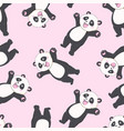 cartoon seamless panda pattern vector image vector image