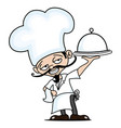 cheerful chef with a dish in his hand vector image