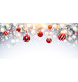 christmas decorations with red balls and fir vector image vector image
