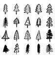 christmas doodle fir trees hand drawn set vector image vector image