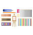 collection of art supplies icons vector image