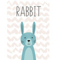 cute rabbit poster card for kids vector image vector image