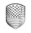 emblem of flag united states of america monochrome vector image vector image
