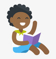 enthusiastic african child with book in hand vector image