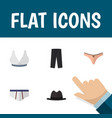 flat icon garment set of brasserie lingerie vector image vector image