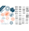 floral pattern brushes with hand drawn colorful vector image