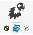 Football fireball sign icon Soccer Sport symbol vector image vector image