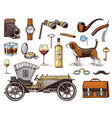 gentleman accessories hand drawn set victorian vector image vector image
