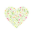 heart made beautiful wild flowers decorative vector image vector image