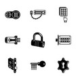 latch icons set simple style vector image